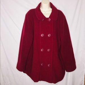 Lane Bryant 18/20 Wool Blend Red Pea Coat